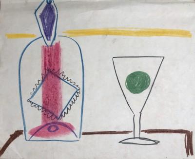 Carlos Carnero (1922-1980)Nature morte avec bouteille et verre, c. 1950