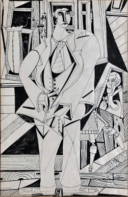 René Audebes (1922-1993)Self Portrait in the Artist's Studio, 1950
