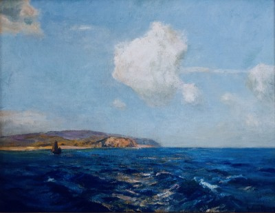 Julius Olsson (1864-1942)Sailing Off the Cornish Coast, c. 1895