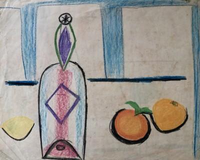 Carlos Carnero (1922-1980)Nature morte avec bouteille et oranges, c. 1950