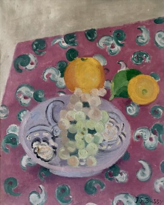 Jane-Simone Bussy (1906-1960)Still Life with Oranges and Grapes, c. 1940s