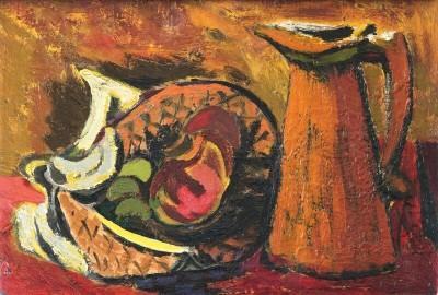 Kenneth Lauder (1916-2004)Basket of Fruit and Jug, 1949