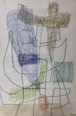 Carlos Carnero (1922-1980)Composition lyrique (bleu), 1959