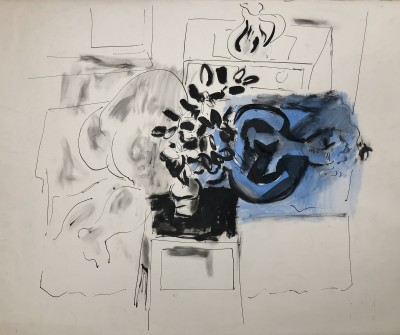 Glyn Morgan (1926-2015)Interior with Blue Nude, 1950