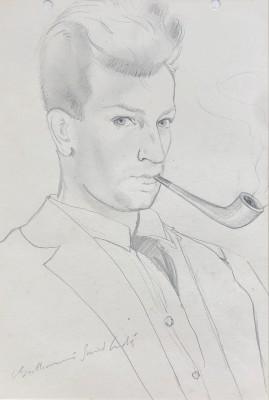 Louis Berthommé-Saint-André (1905-1977)Self Portrait with Pipe, 1925