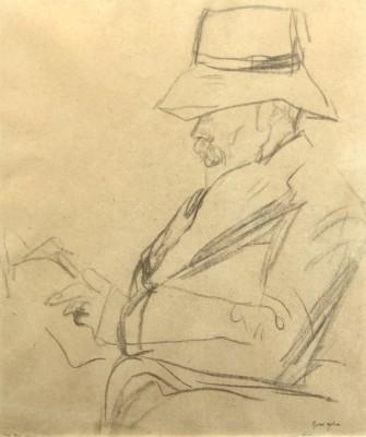 Gwen John (1876-1939)Portrait of the Poet Arthur Symons in a hat, reading, c. 1920