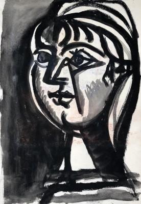 Carlos Carnero (1922-1980)Buste de femme (noir), c. 1950