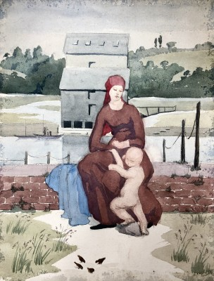 Dorothea Maclagan (1895-1982)Mother and Child in a Landscape, c. 1920