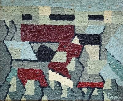 André Fildier (1928-2001)Village cubiste, 1950