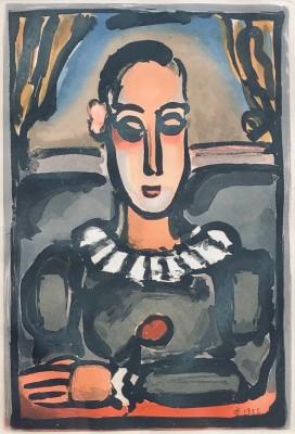 Georges Rouault (1871-1958)Pierrot noir, Cirque de l'étoile filante, 1935