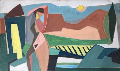 Marjorie Sherlock (1897-1973)Cubist Nude in a Landscape, c. 1938