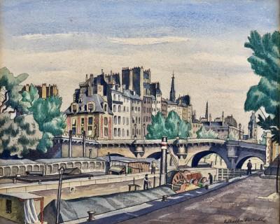 Ethelbert White (1891-1972)Barges on The Seine, Paris, c. 1926