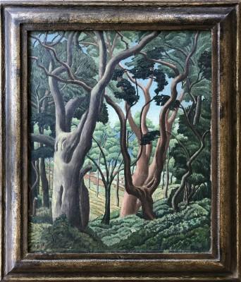 Alexander C. Dalzell (1905-1990)Yew Trees at Stoke Gabriel, Devon, 1936