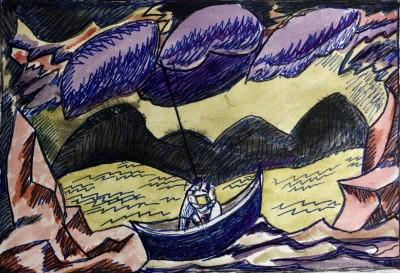 Doris Hatt (1890-1969)Boat in a Storm, 1960's
