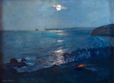 Julius Olsson (1864-1942)Moonlight St. Ives - Looking Towards Godrevy Lighthouse, c. 1895