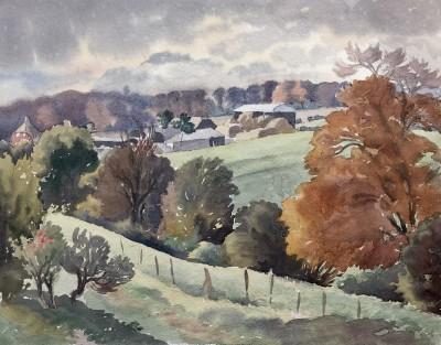Ethelbert White (1891-1972)Autumn Landscape with Farm, c. 1935