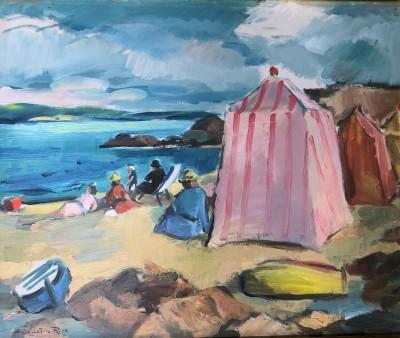 Anne Estelle Rice (1879-1959)Beach Tents, La Baule, Brittany, c. 1920s