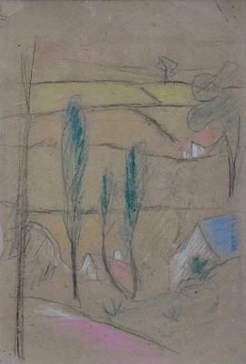 Paul Sérusier (1864-1927)Study for PAYSAGE DE CHÂTEAUNEUF-DU-FAOU - verso -Study for 'La Légende de Sainte Triphine', 1906