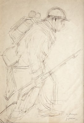 André Dunoyer de Segonzac (1884-1974)Soldier at The Front, 1916
