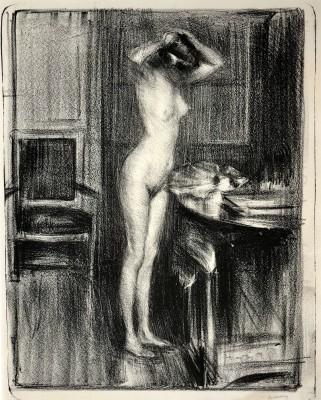 Albert de Belleroche (1864-1944)Interior with Nude, c. 1908