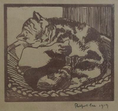 Rupert Lee (1887-1959)Cat and Kittens, 1919