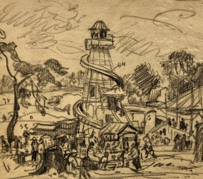 Ethelbert White (1891-1972)The Fairground, Hampstead, c. 1924