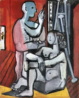 Carlos Carnero (1922-1980)Artiste et modèle, 1955