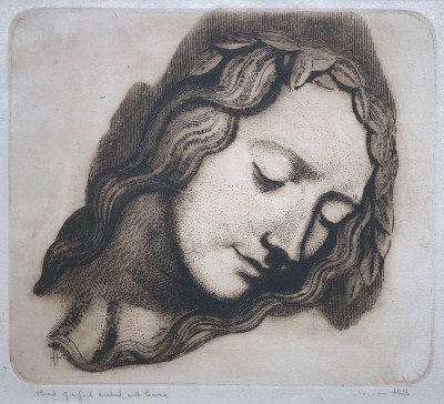 Vernon Hill (1887-1972)Head of a Girl decked with Leaves
