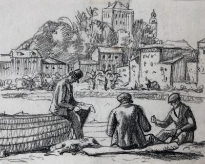 Ethelbert White (1891-1972)Mending Nets, Rapallo, c. 1924