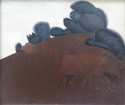 Hans Schwarz (1922-2003)Cows on a Hillside, c. 1962
