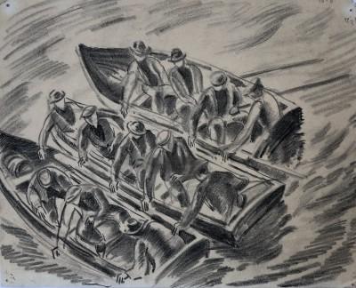 Ethelbert White (1891-1972)Men in Rowing Boats, c. 1914