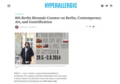 8th berlin biennale curator on berlin contemporary art and gentrification
