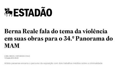 berna reale fala do tema da violência em suas obras para o 34 Panorama do MAM