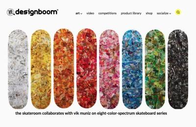 the skateroom collaborates with vik muniz on eight-color-spectrum skateboard series