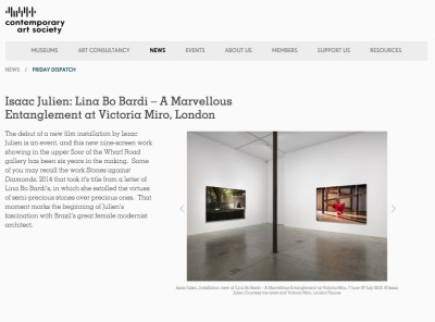 isaac julien: lina bo bardi – a marvellous entanglement at victoria miro, london