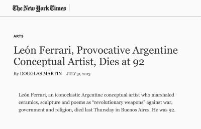 león ferrari, provocative argentine conceptual artist, dies at 92