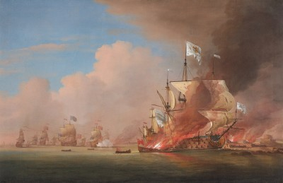 Peter Monamy , The Destruction of the 'Soleil Royal' at the Battle of La Hogue, 23 May, 1692
