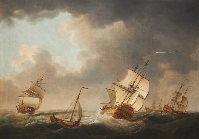 Charles Brooking , Ships in a running sea with a fishing smack in the foreground