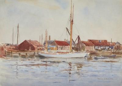 Arthur James Wetherall Burgess , RI, ROI, RBC, RSMA, Yachts at Poole Harbour