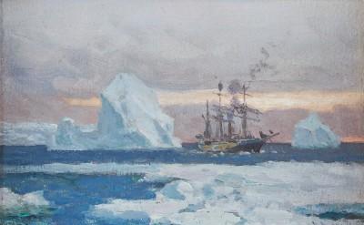 Chevalier Eduardo de Martino , The corvette 'Uruguay' in the Antarctic passing icebergs
