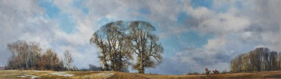 David Shepherd CBE , A panorama of hunting in an English country landscape