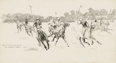 Lionel Dalhousie Robertson Edwards , RI, Lord Wodehouse stopping a rush: The 1921 Westchester Cup between USA and England at the Hurlingham Club, London., 1921