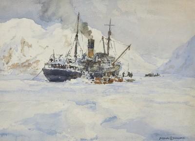 Arthur James Wetherall Burgess , RI, ROI, RBC, RSMA, The 'Jacob Ruppert' unloading Richard Byrd's second Antarctic Expedition, 1933