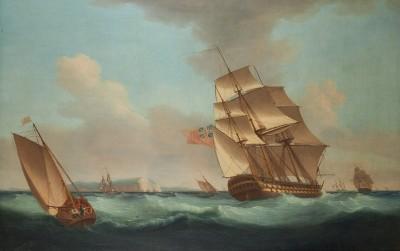 Thomas Whitcombe , Shipping off the Needles
