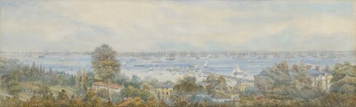 English School (19th century) , Panorama of the Fleet Review, off Ryde, Isle of Wight,1856