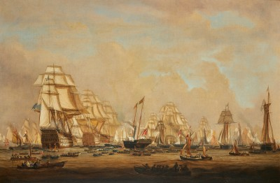 William Joy , Queen Victoria in the Royal Yacht, 'Victoria and Albert I', reviewing the fleet at Spithead on 21st June 1845