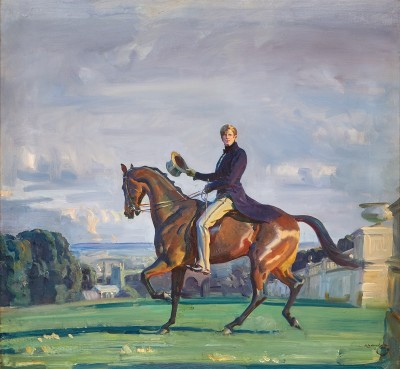 Sir Alfred James Munnings , PRA, RWS, Portrait of Robert 'Bobby' Gould Shaw III on horseback in the grounds of Cliveden