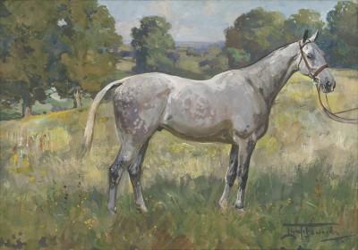 Lionel Dalhousie Robertson Edwards , RI, A dappled grey horse in a landscape