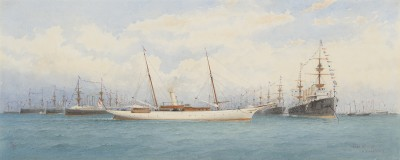 """Robert Taylor Pritchett , The R.Y.S. steam yacht """"Santa Maria"""" at the Diamond Jubilee Review of the Fleet, June 1897"""