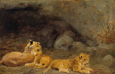 Wilhelm Kuhnert , A Lioness and her cubs